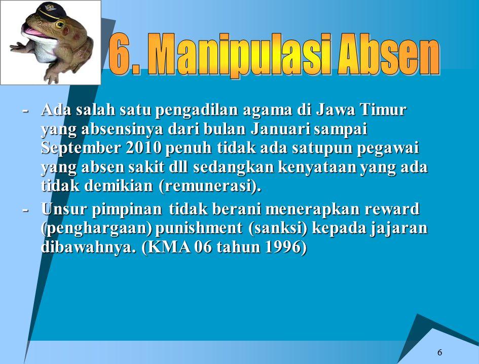 66 -Ada salah satu pengadilan agama di Jawa Timur yang absensinya dari bulan Januari sampai September 2010 penuh tidak ada satupun pegawai yang absen sakit dll sedangkan kenyataan yang ada tidak demikian (remunerasi).