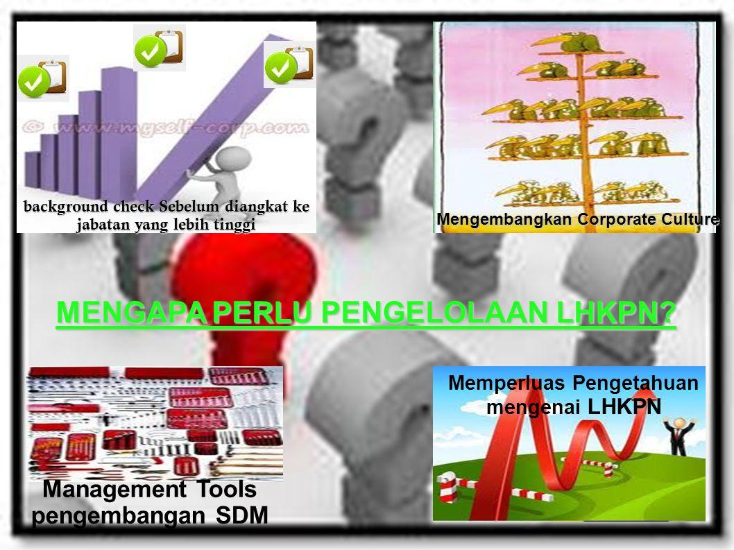 background check Sebelum diangkat ke jabatan yang lebih tinggi Mengembangkan Corporate Culture Memperluas Pengetahuan mengenai LHKPN Management Tools