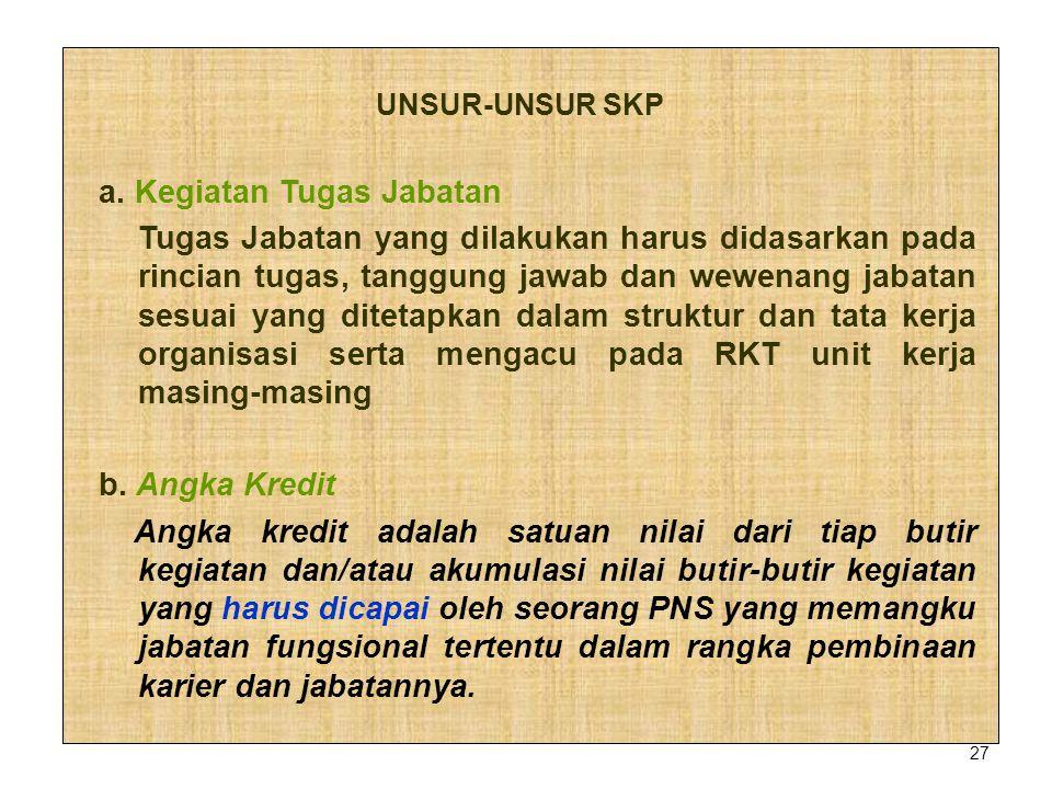 27 UNSUR-UNSUR SKP a. Kegiatan Tugas Jabatan Tugas Jabatan yang dilakukan harus didasarkan pada rincian tugas, tanggung jawab dan wewenang jabatan ses