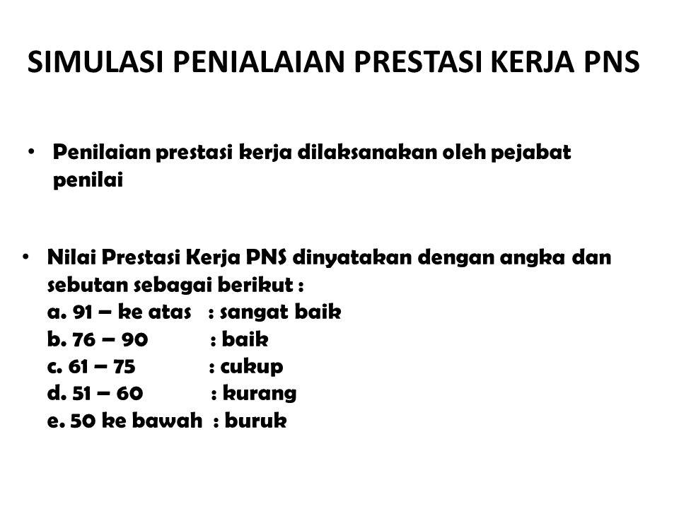 Nilai Prestasi Kerja PNS dinyatakan dengan angka dan sebutan sebagai berikut : a. 91 – ke atas : sangat baik b. 76 – 90 : baik c. 61 – 75 : cukup d. 5