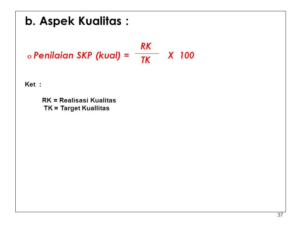 37 b. Aspek Kualitas :  Penilaian SKP (kual) = X 100 Ket : RK = Realisasi Kualitas TK = Target Kuallitas RK TK