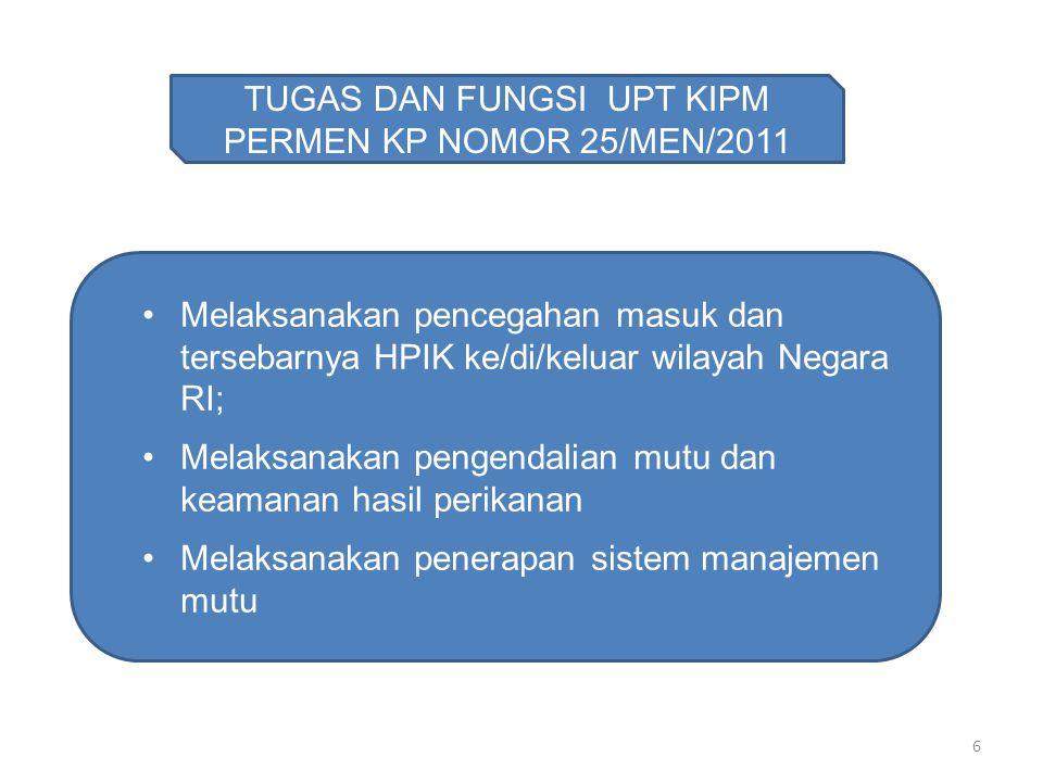 6 TUGAS DAN FUNGSI UPT KIPM PERMEN KP NOMOR 25/MEN/2011 Melaksanakan pencegahan masuk dan tersebarnya HPIK ke/di/keluar wilayah Negara RI; Melaksanaka