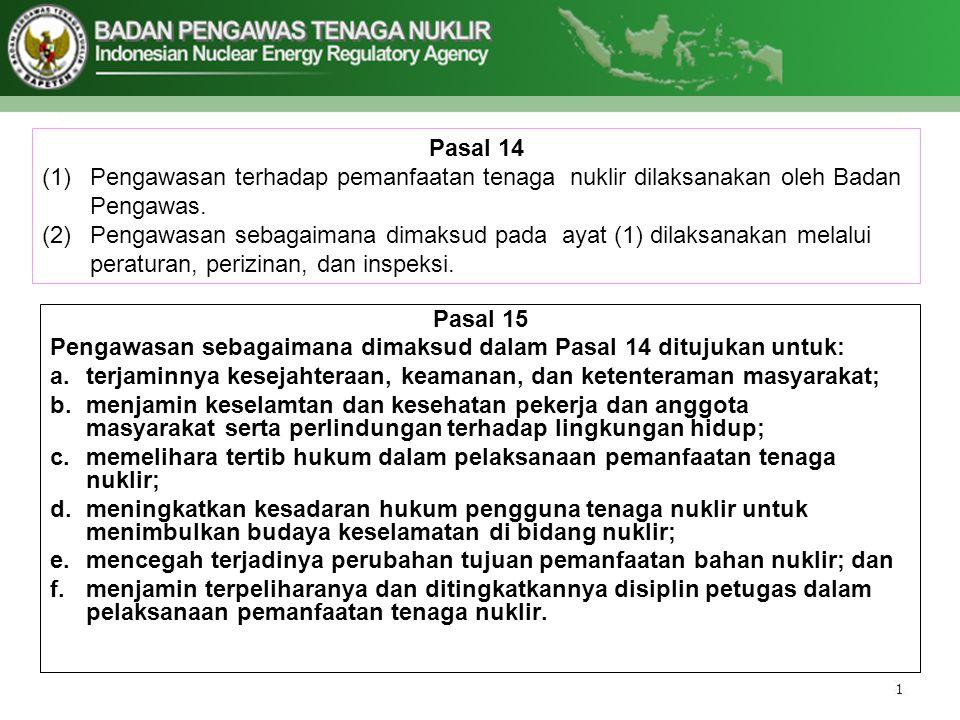 Pasal 14 (1)Pengawasan terhadap pemanfaatan tenaga nuklir dilaksanakan oleh Badan Pengawas. (2)Pengawasan sebagaimana dimaksud pada ayat (1) dilaksana