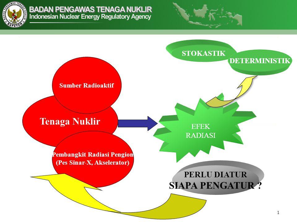 Tenaga Nuklir Sumber Radioaktif Pembangkit Radiasi Pengion (Pes Sinar-X, Akselerator) EFEK RADIASI PERLU DIATUR SIAPA PENGATUR .