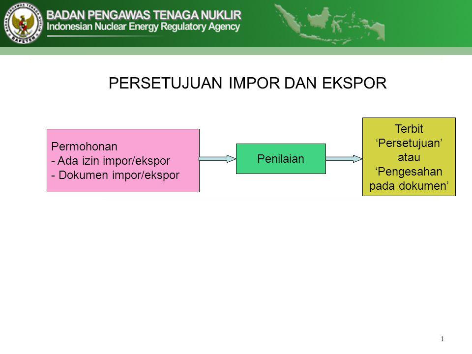 PERSETUJUAN IMPOR DAN EKSPOR Permohonan - Ada izin impor/ekspor - Dokumen impor/ekspor Penilaian Terbit 'Persetujuan' atau 'Pengesahan pada dokumen'