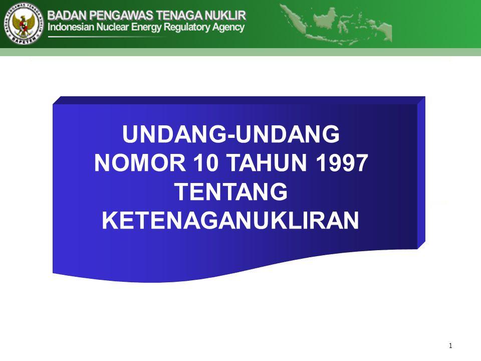 UNDANG-UNDANG NOMOR 10 TAHUN 1997 TENTANG KETENAGANUKLIRAN