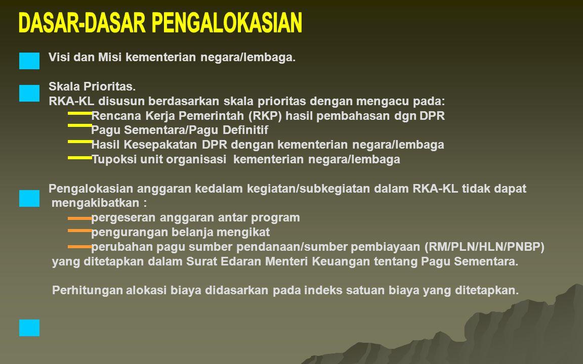 Visi dan Misi kementerian negara/lembaga. Skala Prioritas. RKA-KL disusun berdasarkan skala prioritas dengan mengacu pada: Rencana Kerja Pemerintah (R