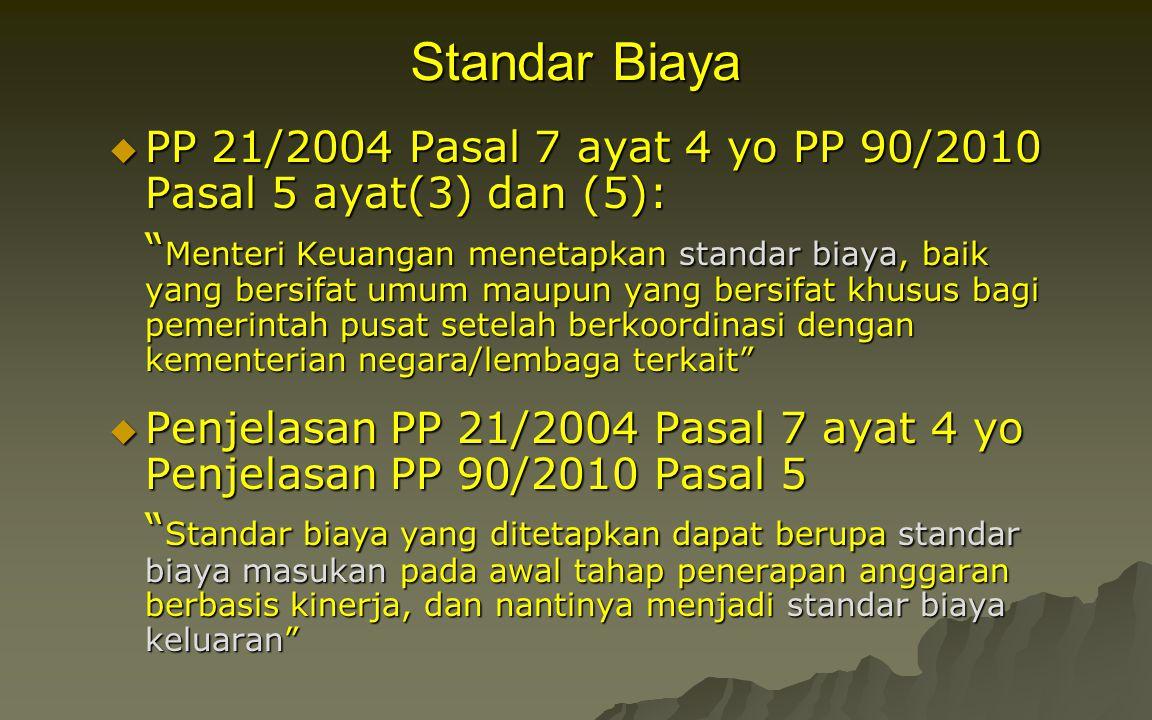 """Standar Biaya  PP 21/2004 Pasal 7 ayat 4 yo PP 90/2010 Pasal 5 ayat(3) dan (5): """" Menteri Keuangan menetapkan standar biaya, baik yang bersifat umum"""