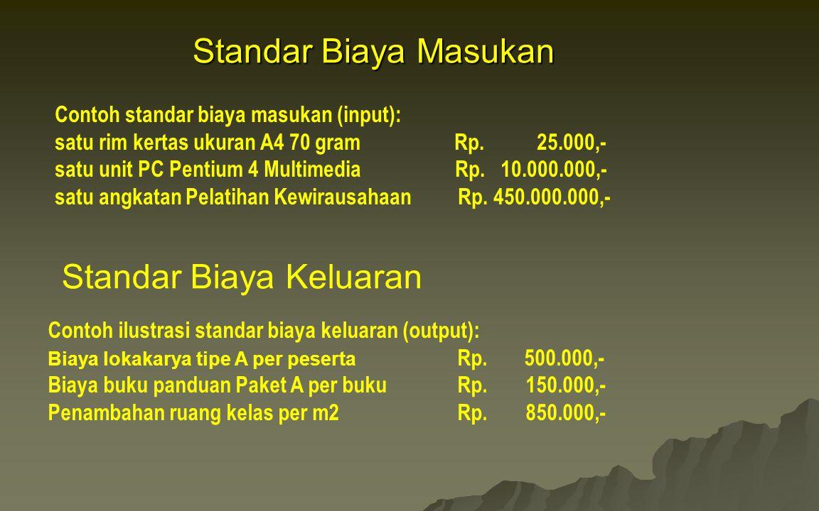 Standar Biaya Masukan Contoh standar biaya masukan (input): satu rim kertas ukuran A4 70 gram Rp. 25.000,- satu unit PC Pentium 4 Multimedia Rp. 10.00