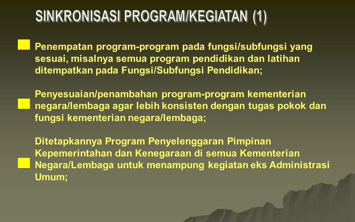 Penempatan program-program pada fungsi/subfungsi yang sesuai, misalnya semua program pendidikan dan latihan ditempatkan pada Fungsi/Subfungsi Pendidik