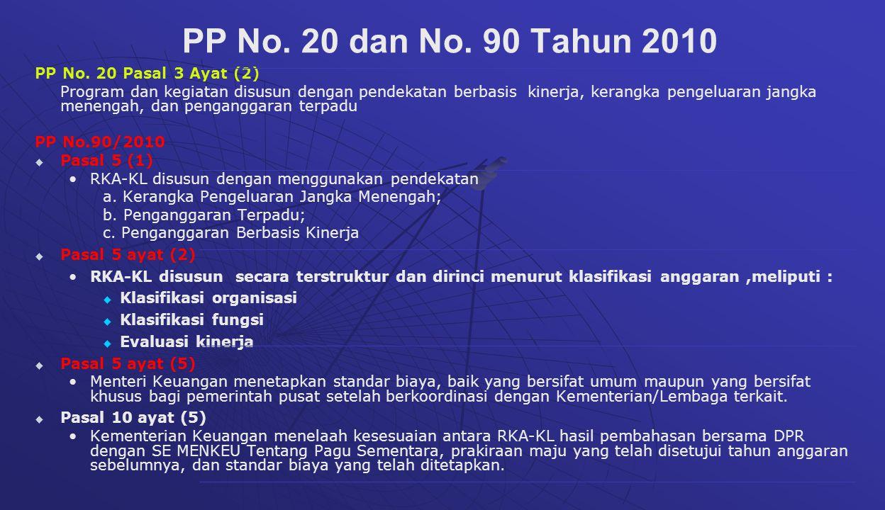 PP No. 20 Pasal 3 Ayat (2) Program dan kegiatan disusun dengan pendekatan berbasis kinerja, kerangka pengeluaran jangka menengah, dan penganggaran ter