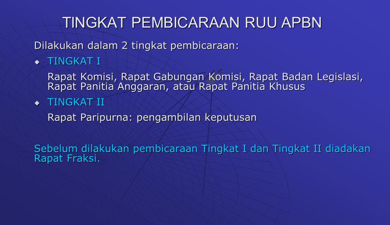 TINGKAT PEMBICARAAN RUU APBN Dilakukan dalam 2 tingkat pembicaraan:  TINGKAT I Rapat Komisi, Rapat Gabungan Komisi, Rapat Badan Legislasi, Rapat Pani