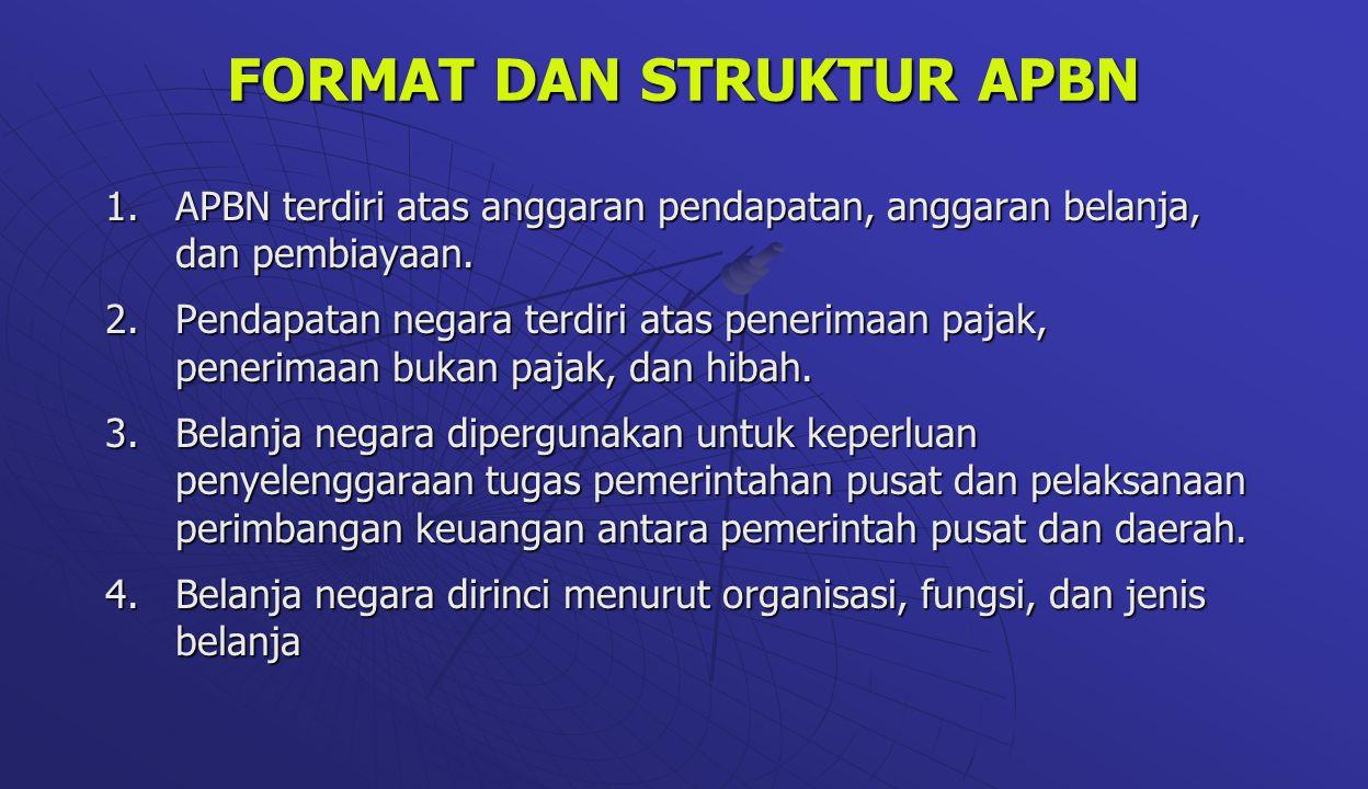 FORMAT DAN STRUKTUR APBN 1.APBN terdiri atas anggaran pendapatan, anggaran belanja, dan pembiayaan. 2.Pendapatan negara terdiri atas penerimaan pajak,