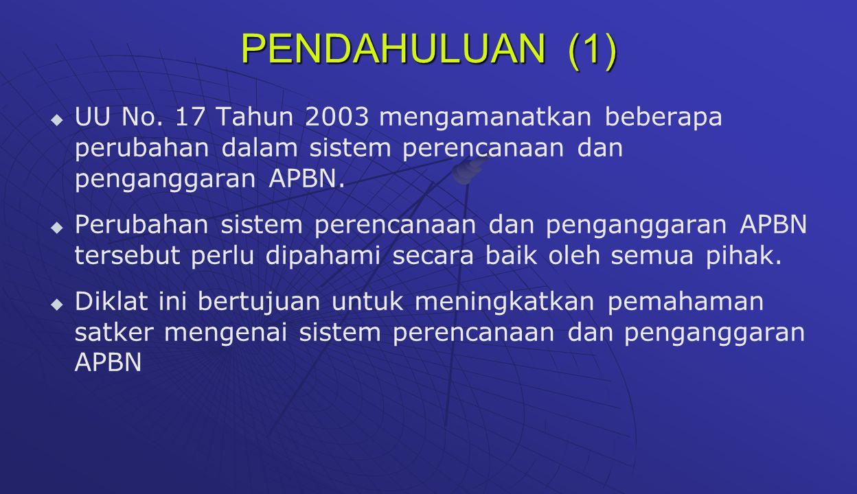 PENDAHULUAN (2) Topik sistem perencanaan dan penganggaran APBN disajikan dalam 4 sesi:   Sesi I : Dasar Hukum, Siklus APBN, & Format dan Struktur APBN   Sesi II : Format Baru Belanja Negara   Sesi III : Proses Penyusunan Anggaran (Dari RKA-KL, UU APBN s.d.Perpres Rincian APBN)   Sesi IV : RKA K/L