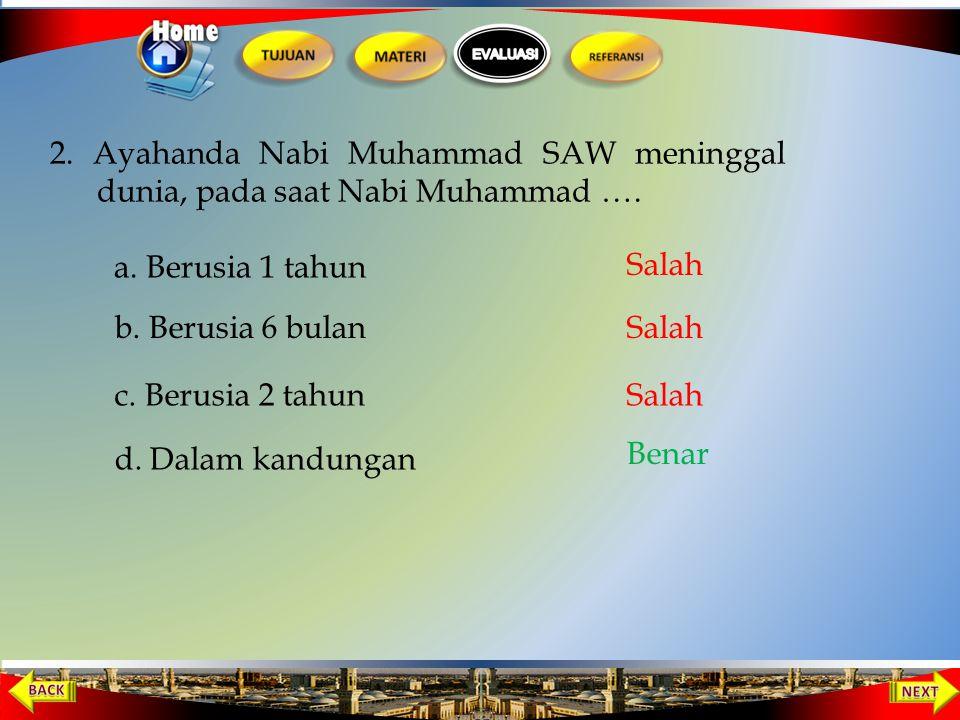 Nabi Muhammad saw dilahirkan pada tahun …. 1 b. 671 M c. 771 M a. 571 M d. 471 M Salah Benar Salah