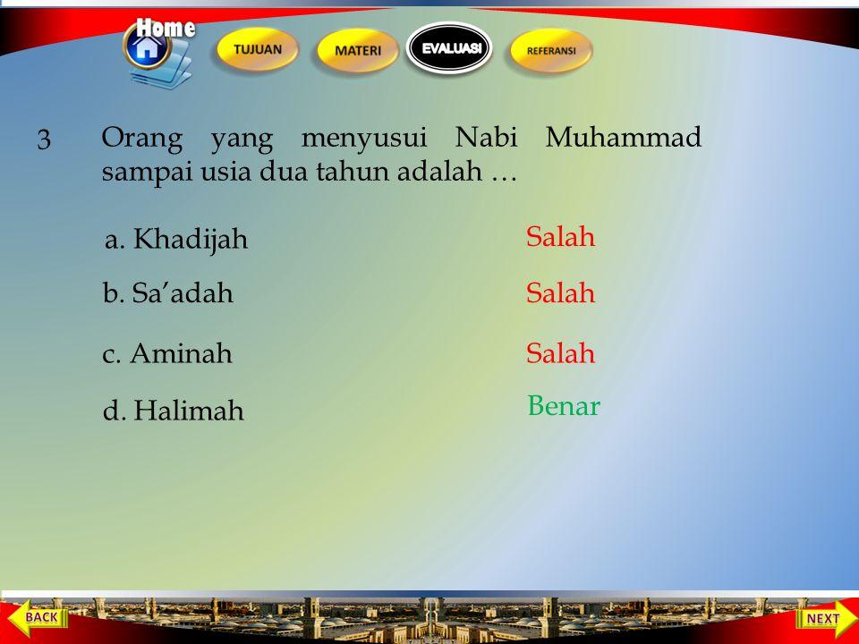 2. Ayahanda Nabi Muhammad SAW meninggal dunia, pada saat Nabi Muhammad …. a. Berusia 1 tahun b. Berusia 6 bulan d. Dalam kandungan c. Berusia 2 tahun