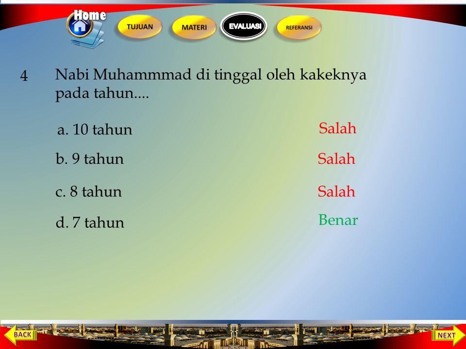 Orang yang menyusui Nabi Muhammad sampai usia dua tahun adalah … 3 a. Khadijah b. Sa'adah d. Halimah c. Aminah Salah Benar Salah