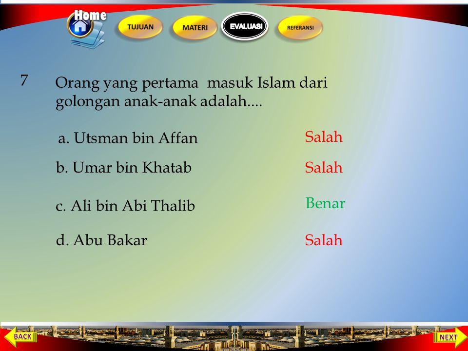 Surat yang diturunkan Allah, yang memerintahkan kepada Nabi Muhammmad untuk dakwah secara sembunyi-sembunyi adalah.... 6 b. al-Mujamil c. al-Mu'minun