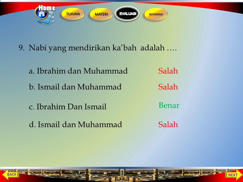 8. Nabi Muhammad dakwah secara sembunyi-sembunyi selama …. a. 1 tahun b. 2 tahun c. 3 tahun d. 4 tahun Salah Benar Salah