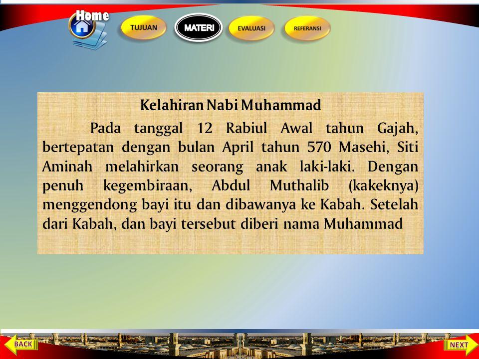 Kelahiran Muhammad SAW Disusukan kepada Halimah binti Abi Dhuaib Siti Aminah dan Abdul Muthalib Meninggal dunia Muhammad diasuh oleh Abu Thalib Muhamm
