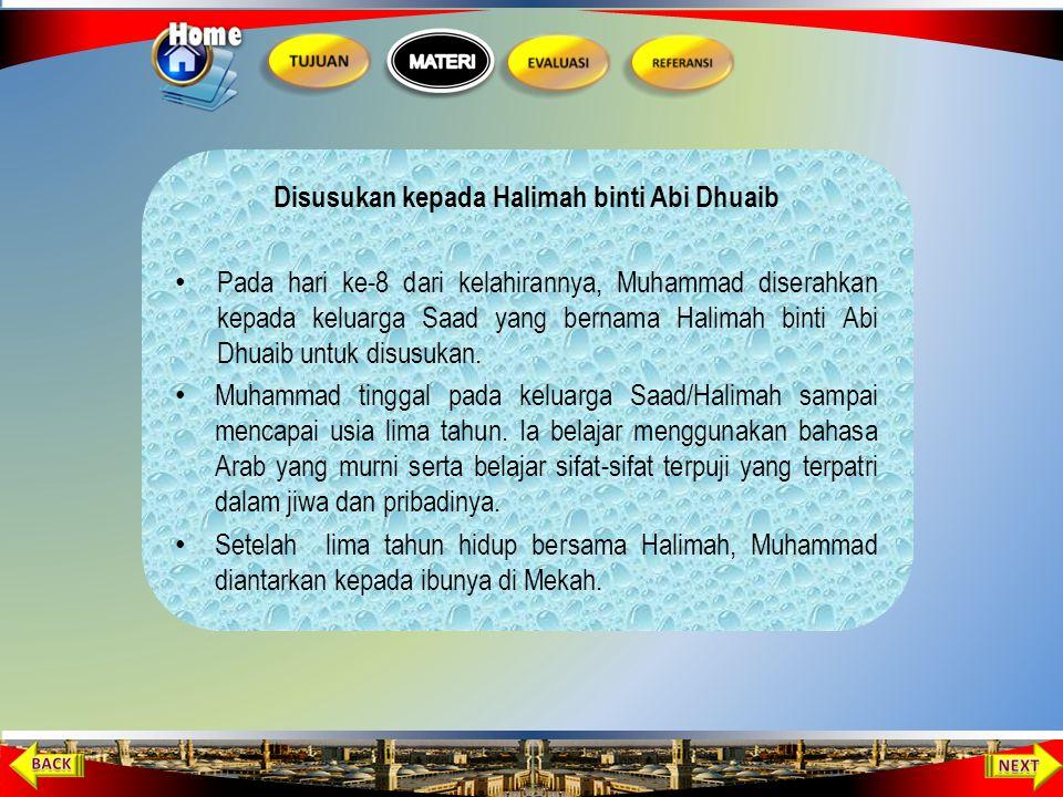 Kelahiran Nabi Muhammad Pada tanggal 12 Rabiul Awal tahun Gajah, bertepatan dengan bulan April tahun 570 Masehi, Siti Aminah melahirkan seorang anak