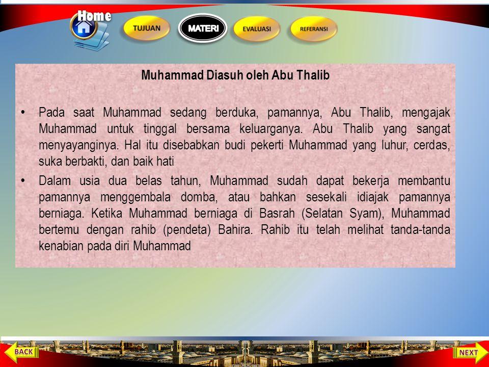 Siti Aminah dan Abdul Muthalib Meninggal dunia Pada saat Muhammad berusia enam tahun, Aminah mengajaknya berziarah ke makam ayahnya, Abdullah, di Madi