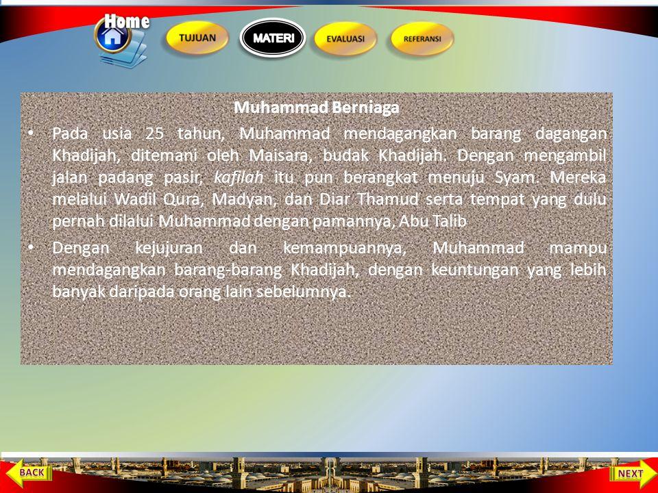 Muhammad Diasuh oleh Abu Thalib Pada saat Muhammad sedang berduka, pamannya, Abu Thalib, mengajak Muhammad untuk tinggal bersama keluarganya. Abu Thal