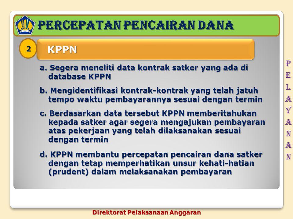 PERCEPATAN pencairan dana 2 KPPN KPPN a. Segera meneliti data kontrak satker yang ada di database KPPN b. Mengidentifikasi kontrak-kontrak yang telah