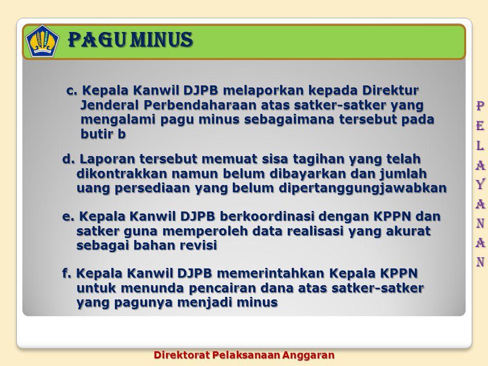 Pagu minus c. Kepala Kanwil DJPB melaporkan kepada Direktur Jenderal Perbendaharaan atas satker-satker yang mengalami pagu minus sebagaimana tersebut
