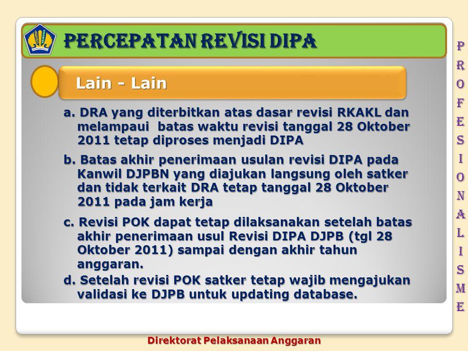 PERCEPATAN REVISI DIPA Lain - Lain Lain - Lain a. DRA yang diterbitkan atas dasar revisi RKAKL dan melampaui batas waktu revisi tanggal 28 Oktober 201