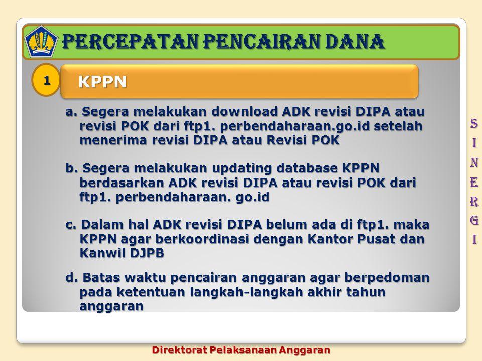PERCEPATAN pencairan dana 1 KPPN KPPN a. Segera melakukan download ADK revisi DIPA atau revisi POK dari ftp1. perbendaharaan.go.id setelah menerima re