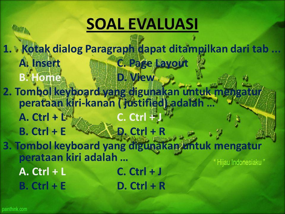 SOAL EVALUASI 1. Kotak dialog Paragraph dapat ditampilkan dari tab... A. InsertC. Page Layout B. HomeD. View 2. Tombol keyboard yang digunakan untuk m