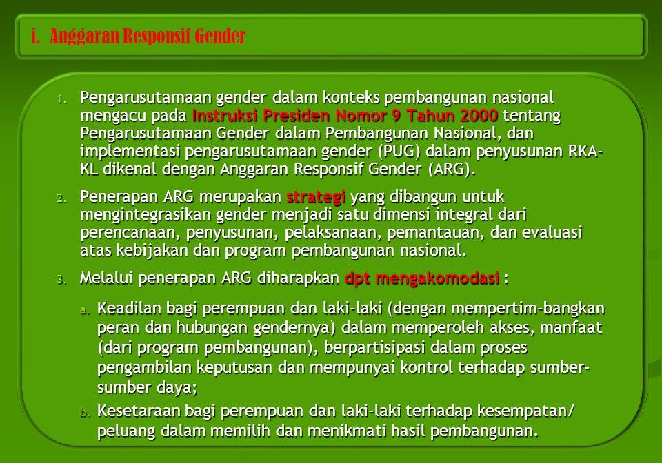 i. Anggaran Responsif Gender 1. Pengarusutamaan gender dalam konteks pembangunan nasional mengacu pada Instruksi Presiden Nomor 9 Tahun 2000 tentang P