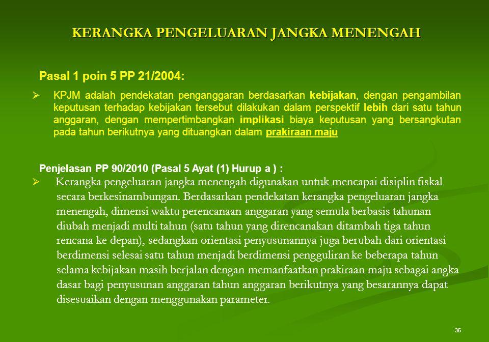 35 KERANGKA PENGELUARAN JANGKA MENENGAH Pasal 1 poin 5 PP 21/2004:  KPJM adalah pendekatan penganggaran berdasarkan kebijakan, dengan pengambilan kep