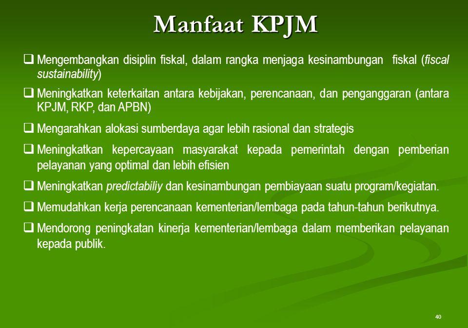 40 Manfaat KPJM  Mengembangkan disiplin fiskal, dalam rangka menjaga kesinambungan fiskal ( fiscal sustainability )  Meningkatkan keterkaitan antara