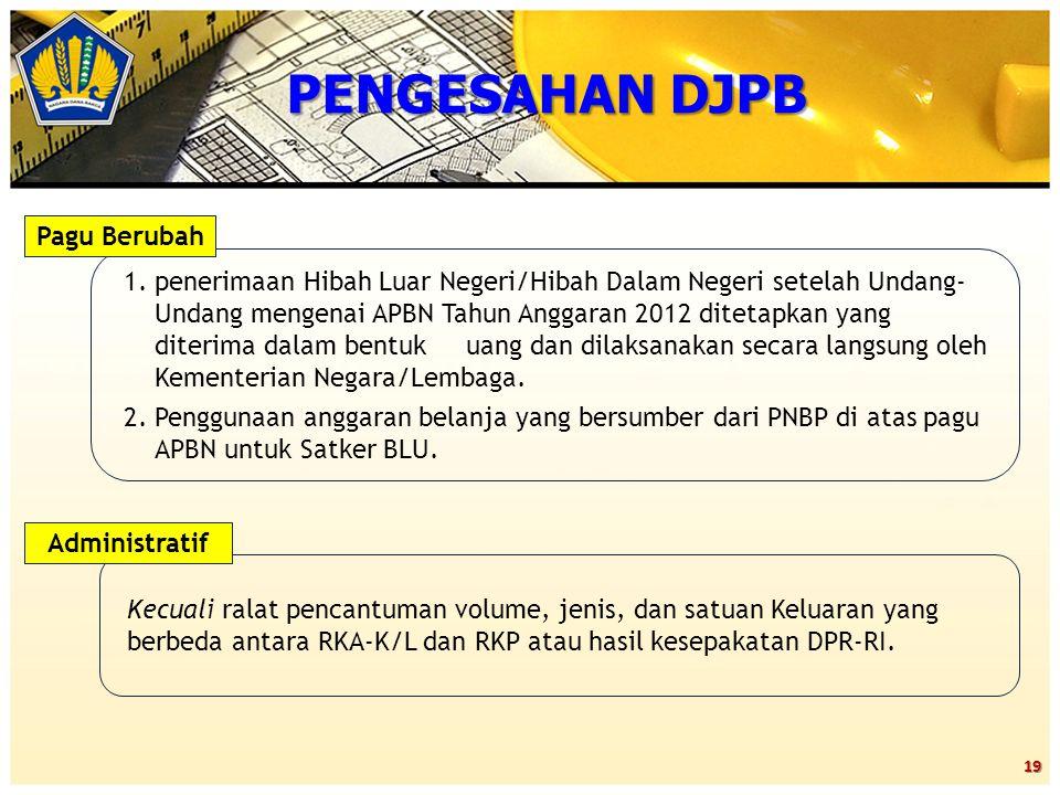 19 PENGESAHAN DJPB 1.penerimaan Hibah Luar Negeri/Hibah Dalam Negeri setelah Undang- Undang mengenai APBN Tahun Anggaran 2012 ditetapkan yang diterima