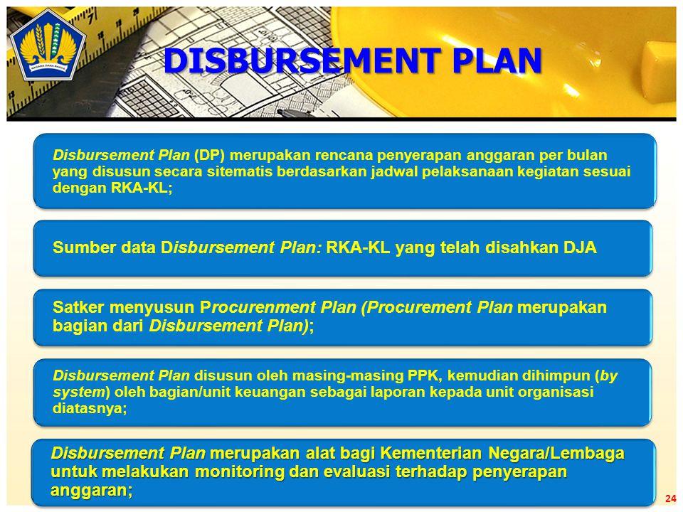 Disbursement Plan (DP) merupakan rencana penyerapan anggaran per bulan yang disusun secara sitematis berdasarkan jadwal pelaksanaan kegiatan sesuai de