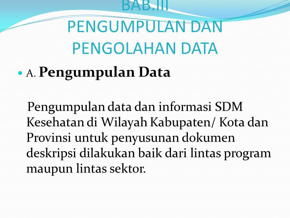 1.Data dan informasi Lintas Program Data dan informasi SDM Kesehatan yang meliputi pengembangan dan pemberdayaan SDMK melibatkan berbagai bagian/seksi yang menangani perencanaan SDM Kesehatan, pengadaan dan pengawasan mutu SDMK contoh misalnya bagian Seksi yang menangani Puskesmas, RSPU,RSUD,RS Khusus, dan sarana pelayanan kesehatan lainnya.