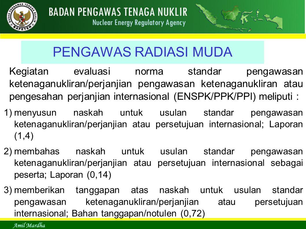 Amil Mardha PENGAWAS RADIASI MUDA Kegiatan evaluasi norma standar pengawasan ketenaganukliran/perjanjian pengawasan ketenaganukliran atau pengesahan p