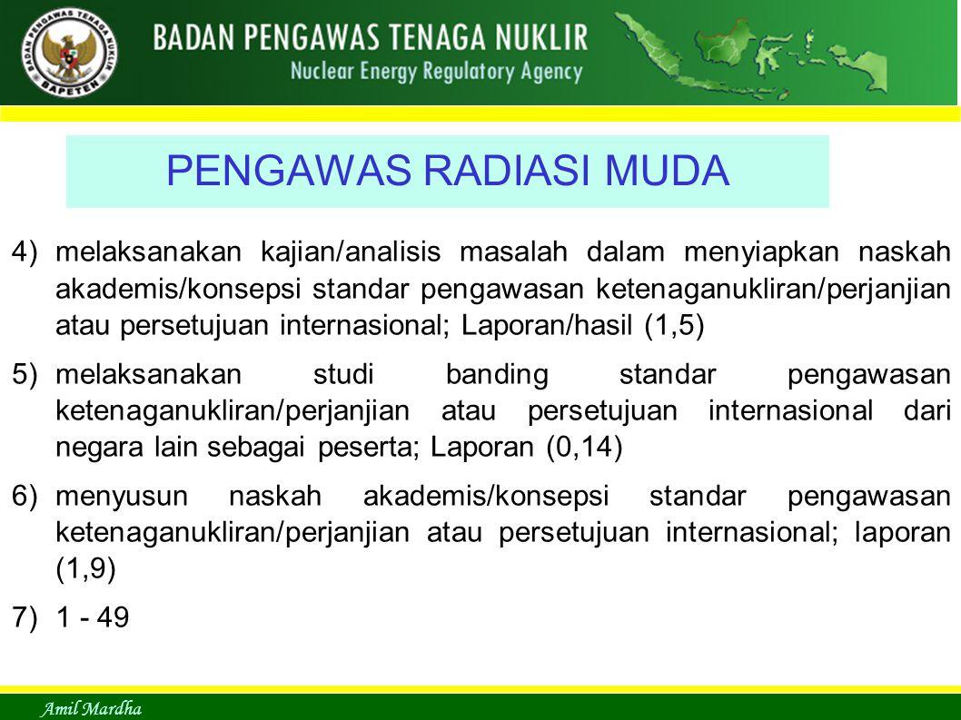Amil Mardha PENGAWAS RADIASI MUDA 4)melaksanakan kajian/analisis masalah dalam menyiapkan naskah akademis/konsepsi standar pengawasan ketenaganukliran