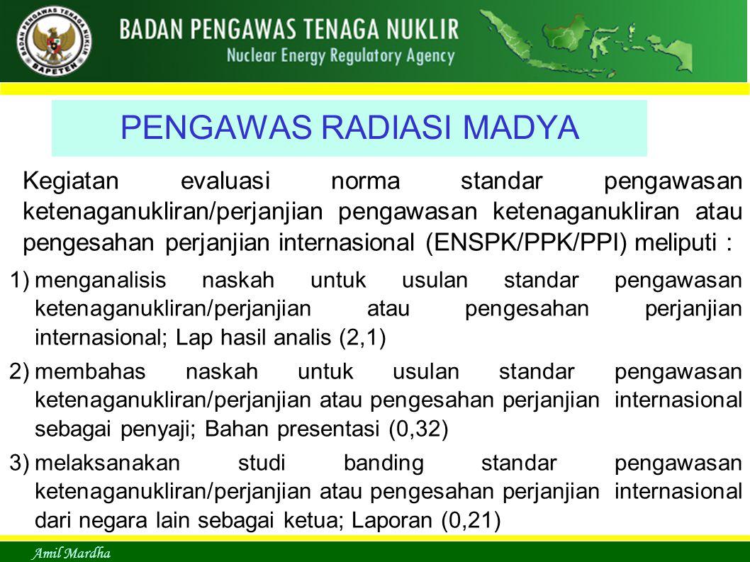 Amil Mardha PENGAWAS RADIASI MADYA Kegiatan evaluasi norma standar pengawasan ketenaganukliran/perjanjian pengawasan ketenaganukliran atau pengesahan