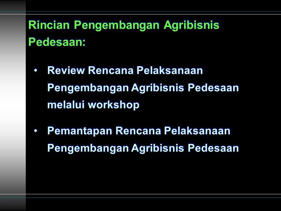 Rincian Pengembangan Agribisnis Pedesaan: Review Rencana Pelaksanaan Pengembangan Agribisnis Pedesaan melalui workshop Pemantapan Rencana Pelaksanaan Pengembangan Agribisnis Pedesaan Rincian Pengembangan Agribisnis Pedesaan: Review Rencana Pelaksanaan Pengembangan Agribisnis Pedesaan melalui workshop Pemantapan Rencana Pelaksanaan Pengembangan Agribisnis Pedesaan