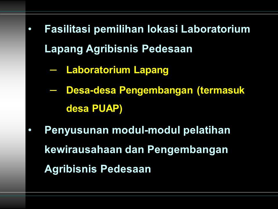 Fasilitasi pemilihan lokasi Laboratorium Lapang Agribisnis Pedesaan – Laboratorium Lapang – Desa-desa Pengembangan (termasuk desa PUAP) Penyusunan modul-modul pelatihan kewirausahaan dan Pengembangan Agribisnis Pedesaan