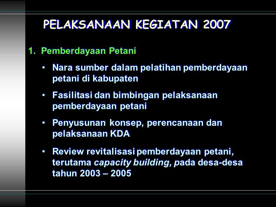 PELAKSANAAN KEGIATAN 2007 1.