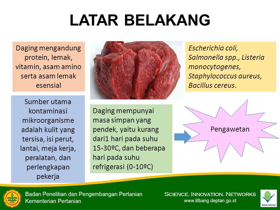 LATAR BELAKANG Daging mengandung protein, lemak, vitamin, asam amino serta asam lemak esensial Sumber utama kontaminasi mikroorganisme adalah kulit ya