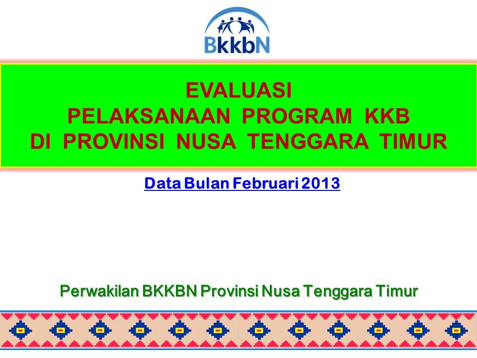 EVALUASI PELAKSANAAN PROGRAM KKB DI PROVINSI NUSA TENGGARA TIMUR Data Bulan Februari 2013 Perwakilan BKKBN Provinsi Nusa Tenggara Timur