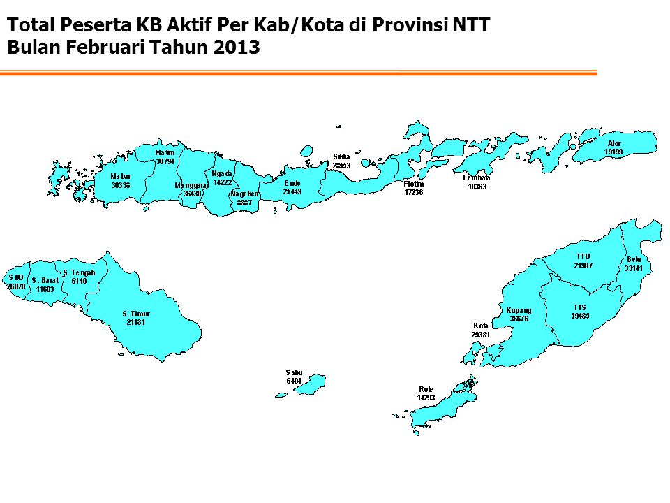 Total Peserta KB Aktif Per Kab/Kota di Provinsi NTT Bulan Februari Tahun 2013