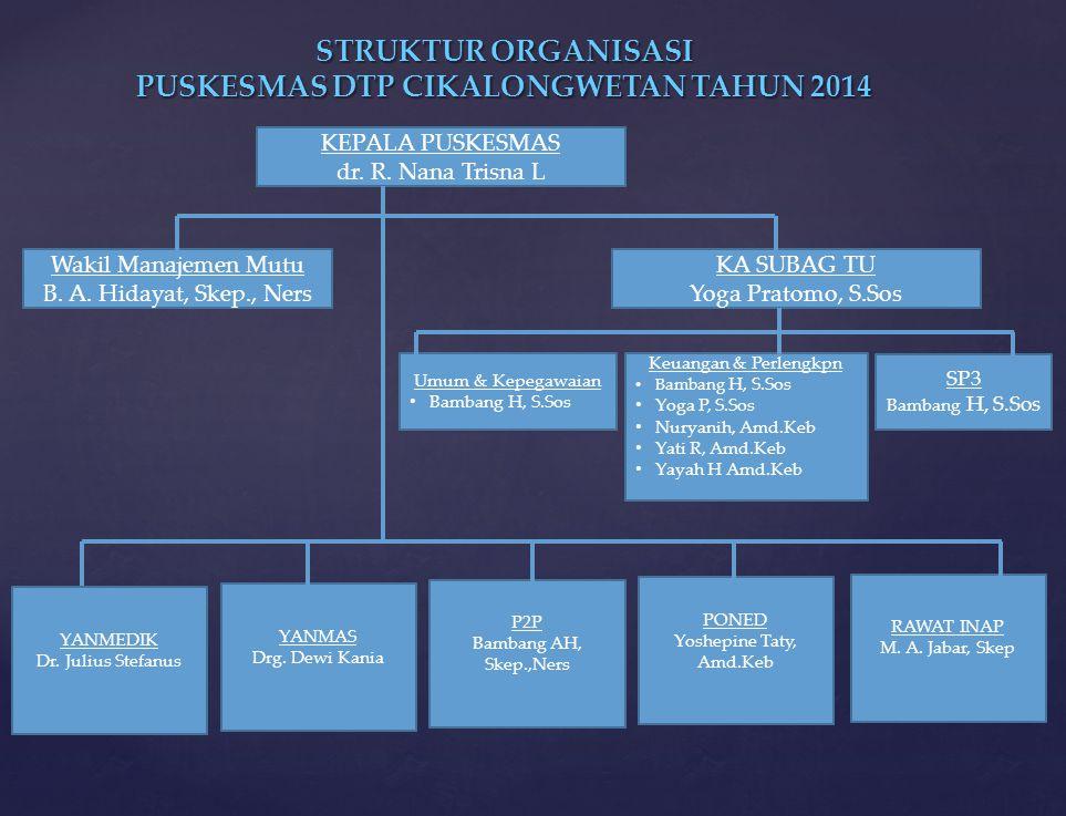 STRUKTUR ORGANISASI PUSKESMAS DTP CIKALONGWETAN TAHUN 2014 KEPALA PUSKESMAS dr. R. Nana Trisna L Wakil Manajemen Mutu B. A. Hidayat, Skep., Ners KA SU