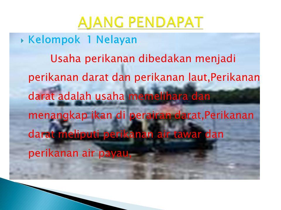  Kelompok 1 Nelayan Usaha perikanan dibedakan menjadi perikanan darat dan perikanan laut,Perikanan darat adalah usaha memelihara dan menangkap ikan d