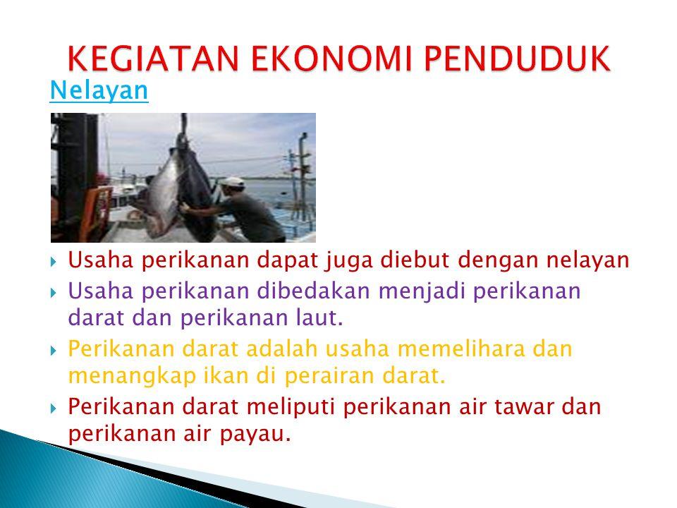Nelayan  Usaha perikanan dapat juga diebut dengan nelayan  Usaha perikanan dibedakan menjadi perikanan darat dan perikanan laut.  Perikanan darat a